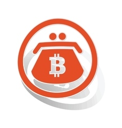 Bitcoin purse sign sticker orange vector