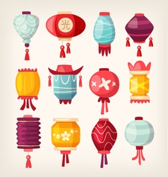 Chinese paper hanging lanterns vector
