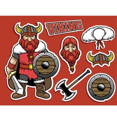 cartoon if viking warrior vector image