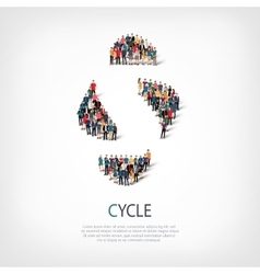Cycle people sign 3d vector