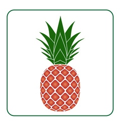 Pineapple with leaf icon color tropical fruit vector