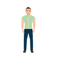 Adult guy in blue shirt vector