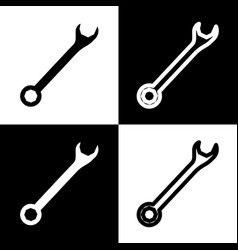 Crossed wrenches sign black and white vector