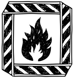 doodle flammable vector image vector image