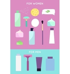 Elements for girls and boys face wash vector