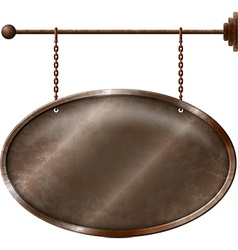 Elliptic rusty metal signboard vector image vector image