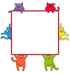 Funny cats around a square billboard vector