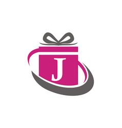 Gift box ribbon letter j vector