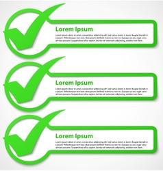 Green check mark banner vector image vector image