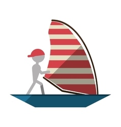 man sailing ship boat travel design shadow vector image
