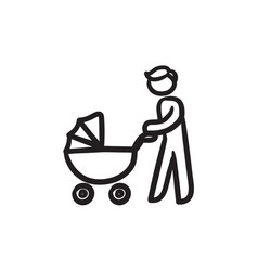 Man walking with baby stroller sketch icon vector