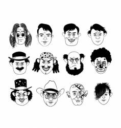 Man's faces vector image vector image