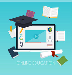 Online education concept science concept with vector