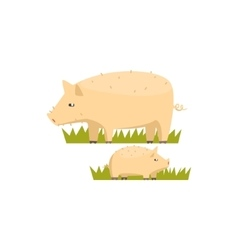 Pig and piglet toy farm animal cute sticker vector