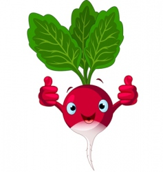 radish character giving thumbs up vector image