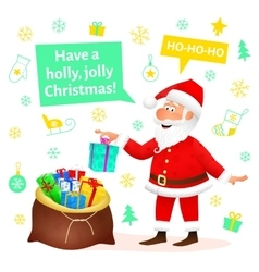 Santa Claus flat character on Christmas background vector image