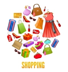 Shopping Round Compositions vector image