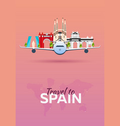 Travel to spain airplane with attractions travel vector