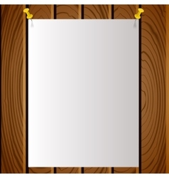 White note post pattern with pins on wooden board vector