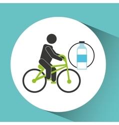 Sport man riding bike nutrition health vector