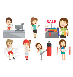 Set of shopping people and sportswomen vector
