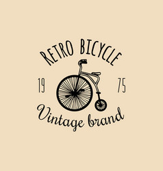 Vintage hipster bicycle logo retro vector
