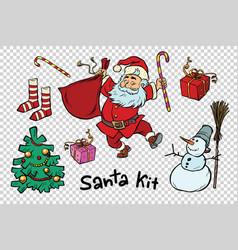 Kit santa set christmas new year items and vector