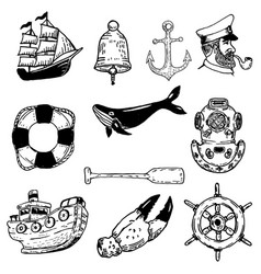 set of hand drawn nautical elements design vector image