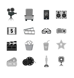 cartoon cinema silhouette black icons set vector image