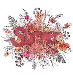 Graphic flowers and herbs with text summer vector