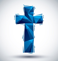 Blue cross geometric icon made in 3d modern style vector