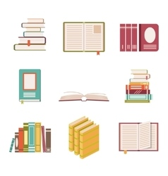 Set of nine book icons in flat design style vector