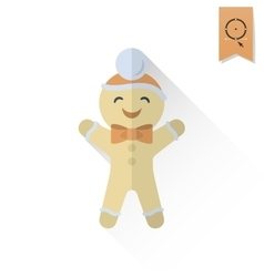 Gingerbread man retro color vector