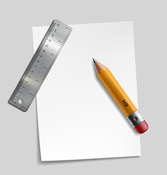 Pencil metal ruler and a piece of paper vector