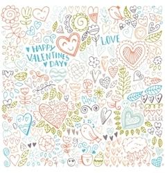 Valentines day sketch pattern vector image