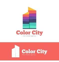 Trendy paper style multicolor skyscrappers vector
