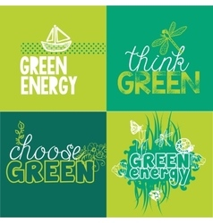 Green logotypes set for ecological projects vector