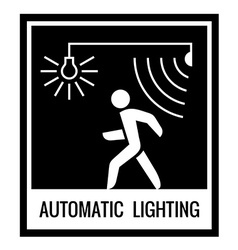 One color warning sign automatic light control vector