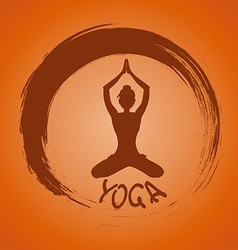 Yoga label with zen symbol and lotus pose vector
