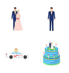 a bride and groom in a wedding dress with a vector image