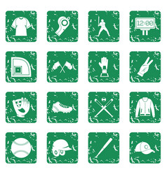 baseball icons set grunge vector image