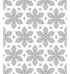 Black and white flourish snowflakes seamless vector