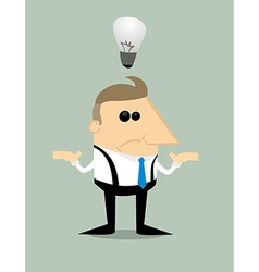 Cartoon businessman with no idea vector image vector image
