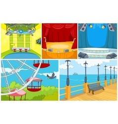 Cartoon set of theater and park background vector