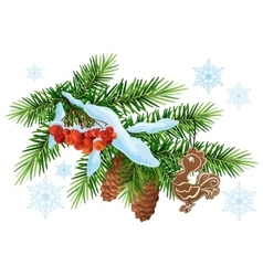 Christmas decoration fir branch gingerbread vector