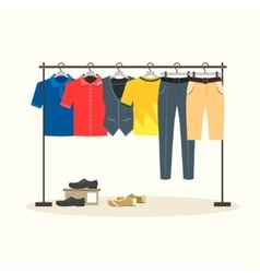 Clothes racks with menswear on hangers vector