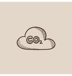 Co2 sign in cloud sketch icon vector