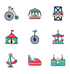 colored circus icons set flat style vector image vector image