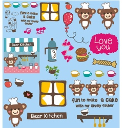 cute bear cooking pattern vector image vector image