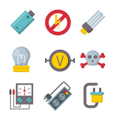 Energy electricity power icons battery vector